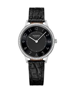 Hermes Slim d'Herm&s Watch with Diamonds & Black Alligator Strap, Hermes Apple Watch, Hermes Watch, Fine Watches, Watches For Men, Neiman Marcus, Hermes Boutique, Fashion Shoes, Fashion Accessories, Locs