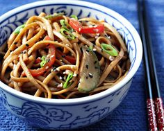 Cold sesame noodles: 3 Tbsp dark soy sauce 2 Tbsp rice vinegar 1/2 tsp chili paste with garlic 2 Tbsp firmly packed brown sugar 1/4 cup creamy peanut butter 3 Tbsp sesame oil, divided 1 tsp grated fresh ginger root 1 lb linguine or lo mein noodles 2 tsp sesame seeds, black or white or a mix 1/2 cup thinly sliced seedless (English) cucumber 1/2 cup thinly sliced red bell pepper A few teaspoons of chopped scallion, for garnish (optional).