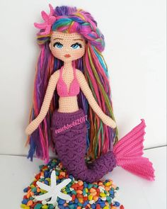 As always, with the best quality amigurumi content we are with you again. Amigurumi, you can fi Knitted Doll Patterns, Crochet Amigurumi Free Patterns, Crochet Doll Pattern, Knitted Dolls, Crochet Dolls, Amigurumi Tutorial, Marine Style, Crochet Dragon, Crochet Mermaid