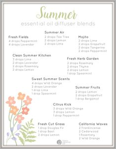 Essential Oil Diffuser Blends for Summer Essential Oils Guide, Mixing Essential Oils, Palmarosa Essential Oil, Geranium Essential Oil, Lemongrass Essential Oil, Essential Oil Combinations, Home Spray, Essential Oil Diffuser Blends, Doterra Diffuser