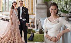 Princess Victoria Of Sweden, Princess Estelle, Crown Princess Victoria, Pose Portrait, Portraits, Blush Gown, Satin Gown, 10th Wedding Anniversary, Prince Daniel
