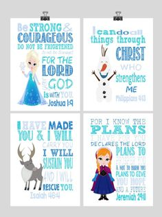 Christian Frozen Nursery Decor Art Print Set of 4 - Princess Elsa, Anna, Sven and Olaf - Multiple Sizes