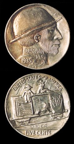"""Double sided hobo nickel by George Washington """"Bo"""" Hughes, a black hobo who started carving Buffalo nickels when they came out in 1913 and kept carving them until late 1981 or early 1982 when he disappeared from a hobo jungle in Florida, never to be seen again. This coin recently sold for $24,200"""