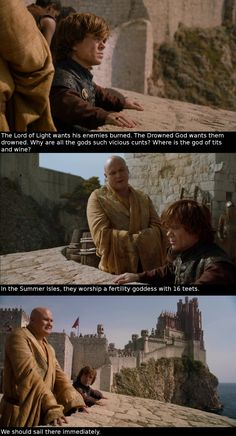"Tyrion Lannister and Lord Varys. ""We should sail there immediately."""