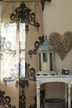 This website has a TON of great ideas for Burlap. I love the look of these Burlap Curtains with design. Stenciled Curtains, Burlap Curtains, Panel Curtains, Jute, French Curtains, Home Hacks, Home Decor Inspiration, Decor Styles, Diy Home Decor