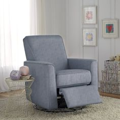 Wood and metal frames this swivel recliner while a streamlined silhouette gives it a contemporary look. Pair it with a patchwork throw for a touch of texture or let it level out a vibrant seating group.