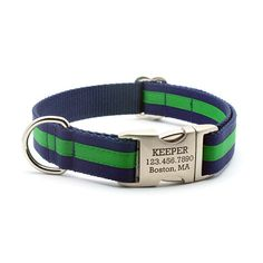 Layered Stripe Laser Engraved Personalized Dog Collar - Navy/Emerald on Etsy, $34.99