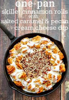 {ONE-PAN} Skillet Cinnamon Rolls with Salted Caramel & Pecan Cream Cheese Dip - the hot caramel cream cheese dip is heaven with the soft, warm cinnamon rolls!