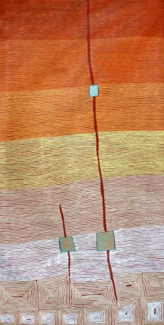 Ronnie Tjampitjinpa Fire, Tingari and Water 2001 synthetic polymer paint on belgian linen 350 x 180 cm