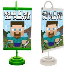 Enfeite de Mesa Banner Especial Minecraft STEVE - Magazine 25 de