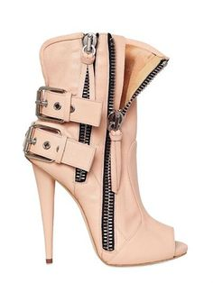 Stunning Giuseppe120MM Leather Biker Open Toe Boots