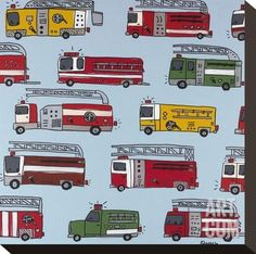Fire Trucks Stretched Canvas Print by Brian Nash at Art.com