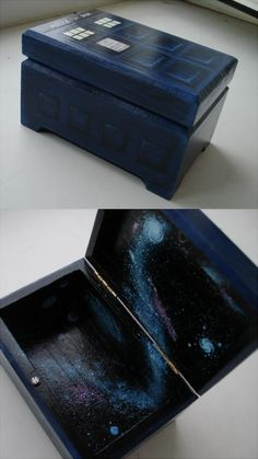 Tardis wooden box- if I had the painting skills to make this i would. I love Boxes and the TARDIS.