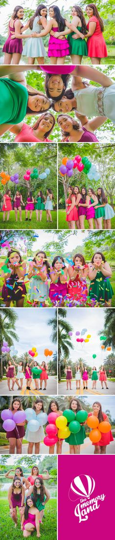 Amigas. Sonrisas. Sesion fotografica. Smile. Globos. Colores. Colors .Teens & Prom photography Check out more of our work :) http://www.thememoryland.com/