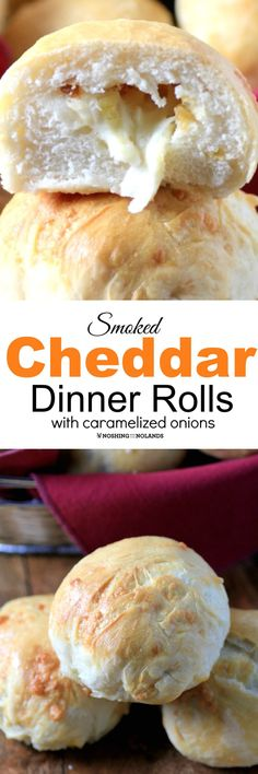 Smoked Cheddar Dinner Rolls with Caramelized Onions by Noshing With The Nolands are a great make ahead that you can freeze to have on hand! Everyone will love the ooey, gooey center!