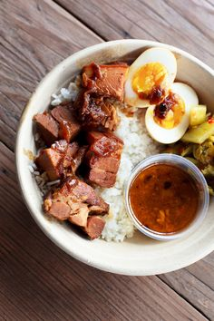 Braised Pork Belly with Jasmine Rice and Egg
