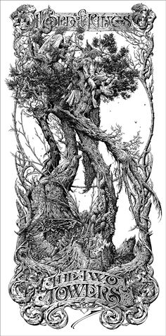 The Lord of the Rings The Two Towers Aaron Horkey Tolkien, Legolas, Gandalf, Ink Illustrations, Illustration Art, Steam Punk, Black And White Artwork, The Two Towers, Scratchboard