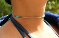 Summer Turquoise Beaded Choker Necklace