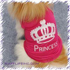 Princess shirt for your fur diva ... Use coupon code PAWS20 for 20% off @ Rufflifeinc.com