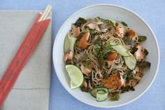 CHILLED BUCKWHEAT NOODLES WITH SALMON AND TOASTED NORI