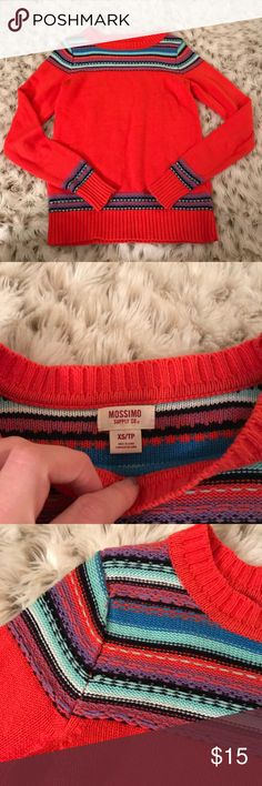 Mossimo Supply Orange Winter Sweater Mossimo supply from target orange long sleeve sweater. Size small. Printed knit detail at neckline and sleeves and bottom of sweater! Perfect for Christmas time! Excellent used condition ! Mossimo Supply Co. Sweaters Crew & Scoop Necks