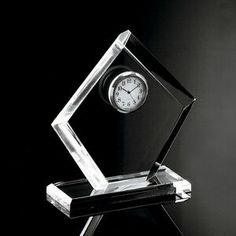"Clear Acrylic Award Clock (6 1/4""x5 1/2""x2"")"
