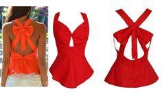 Fashion back bow tops Vest