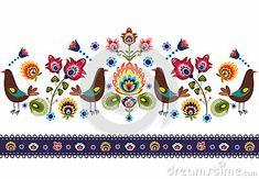 Polish traditional folk pattern - ornamental flower and birds