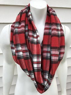 Red Plaid Infinity Scarf-Toronto Raptors Flannel Handmade Scarf-Gifts for Her-Winter Chunky Scarf-To Tartan Blanket Scarf, Plaid Infinity Scarf, White Plaid, Red Plaid, Toddler Scarf, Chunky Scarves, Diy Scarf, Toronto Raptors, Handmade Scarves