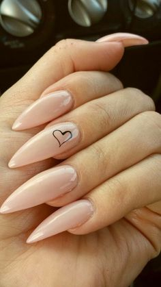 Stiletto Nails. Nude Nails. Heart Nails. Acrylic Nails. #stilettonails
