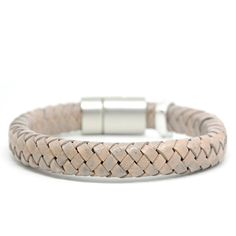 Dulce Earth Grey Armband Gevlochten Leer Zilver ♡ available at www.ibizamusthaves.nl