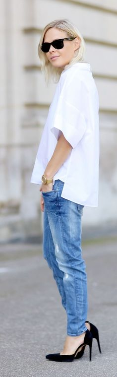 White Loose Shirt Outfit Idea                                                                             Source
