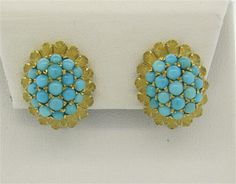 1960s 18K Gold Turquoise Earrings Featured in our upcoming auction on December 14, 2015 11:00AM EST!