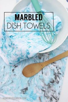 Make some marbled dish towels with shaving cream!