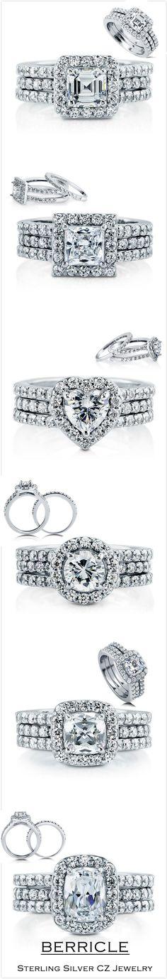 2.31Ct 3 Sided Brilliant Pave Cz Bridal Engagement 2Pc Wedding Ring Set