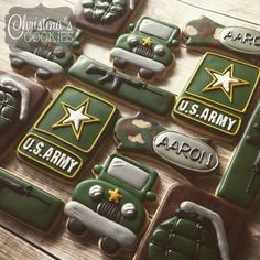 Army baby shower Military Send Off Party Ideas, Military Retirement Parties, Retirement Party Favors, Military Party, Army Party, Retirement Cakes, Army Decor, Military Decorations, Patriotic Decorations
