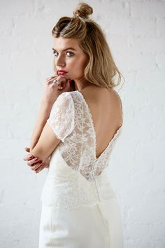 Langley Harper Chantilly Lace Topper Cap Sleeve Wedding Dress Charlotte Balbier