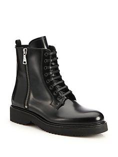 Prada Spazzolato Leather Combat Boots