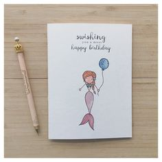 Mermaid Birthday Card // mermaid, birthday card, mermaid card, watercolour card, punny card, pun card, mermaid pun, mermaid greeting card by kenziecardco on Etsy https://www.etsy.com/ca/listing/470209362/mermaid-birthday-card-mermaid-birthday