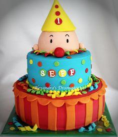 This Bumba cake I have made for a one year old boy. Deze Bumba taart heb ik voor een jongetje die 1 jaar werd gemaakt.