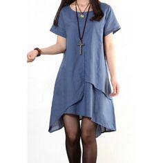 Casual Scoop Collar Short Sleeve Asymmetrical Loose-Fitting Women's Dress