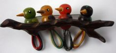 MARTHA SLEEPER 4 Colorful Bakelite Birds on a Wooden Branch Pin
