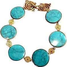 Turquoise, Coral and Brass Bracelet, 8 Inches