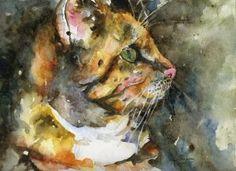 Original Watercolor Cat Painting