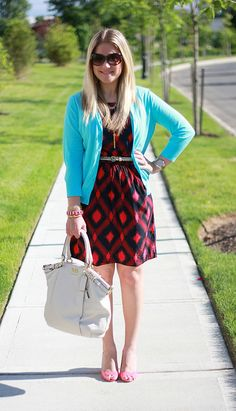 Ikat print dress, turquoise cardigan, cute color combination for work...click through to this site for more colorful office outfit ideas!