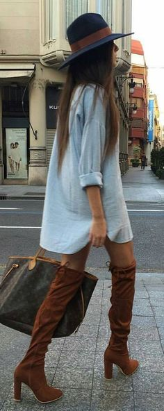 weekend street style over the knee boots