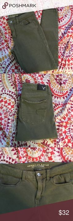 American Eagle Jeggings American Eagle Army Green Jeggings. Never worn. Recently purchased. 360 super stretch. 8R. MAKE AN OFFER!! American Eagle Outfitters Jeans Skinny