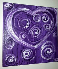 easy heart canvas painting | Heart Art on Canvas Purple Heart by BlingyFox on Etsy, $53.00
