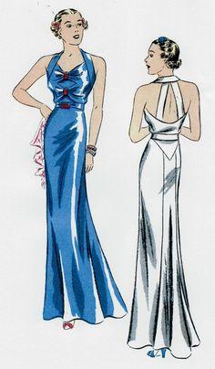 1939 Vintage Sewing Pattern B34 EVENING DRESS (R957)  #DuBarry