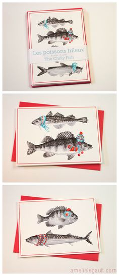 The Chilly fish, 5 Holiday cards by Amelie Legault on Etsy Les poissons frileux, 5 cartes de noël par Amelie Legault sur Etsy  $5.00 each or 5 for 20.00$ Click here the buy some fresh fish: https://www.etsy.com/ca/listing/204580521/set-of-5-christmas-card-of-chilly-fish?ref=shop_home_active_2 #fishcard #christmascard #holidaycard #chillyfish #amelielegault #poissonsfrileux #cartesdenoel